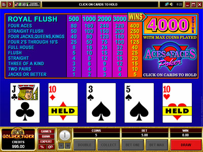 Aces and Faces Video Poker by Microgaming