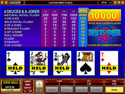 Deuces and Joker Video Poker by Microgaming