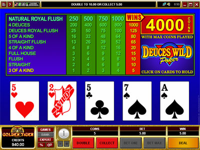 Deuces Wild Video Poker by Microgaming