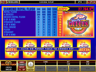 Jackpot Deuces Video Poker by Microgaming
