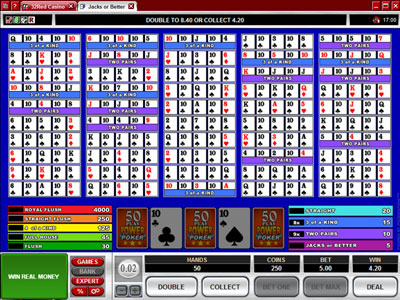Jacks or Better 50 Play Power Poker : Microgaming