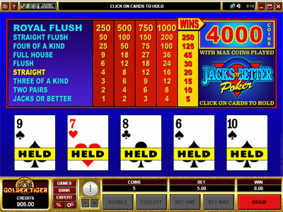 Jacks or Better Video Poker by Microgaming