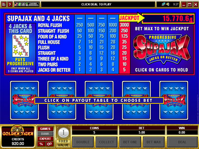 SupaJax Video Poker by Microgaming