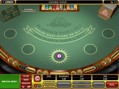 Atlantic City Blackjack Card Table ScreeenShot