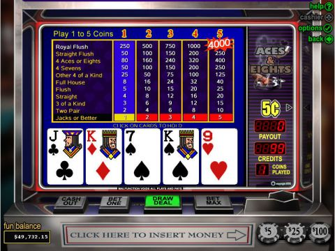 Aces and Eights Poker Video Poker Main