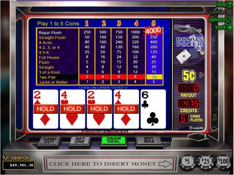 Bonus Poker Video Poker Main