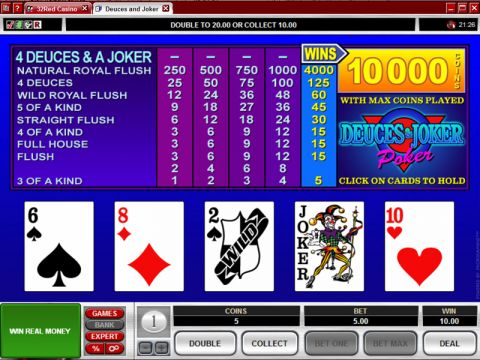Deuces and Joker Poker Video Poker Main
