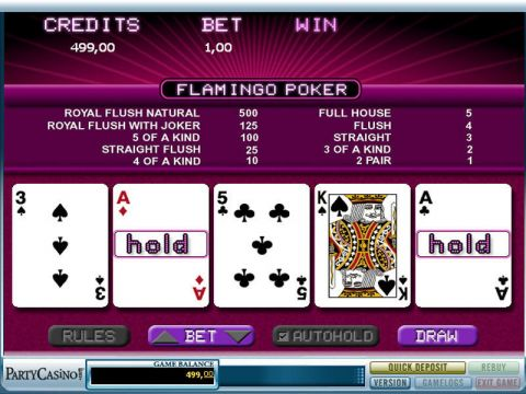 Flamingo Poker Video Poker Main