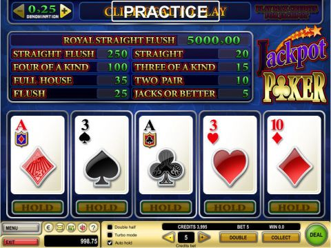 Jacks or Better Poker Video Poker Main